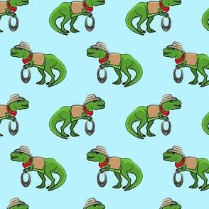 Cowboy Tyrannosaurus rex - Trex dinosaur - blue - LAD19