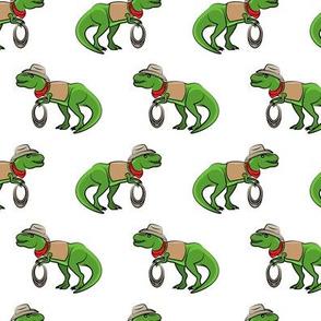 Cowboy Tyrannosaurus rex - Trex dinosaur - white - LAD19