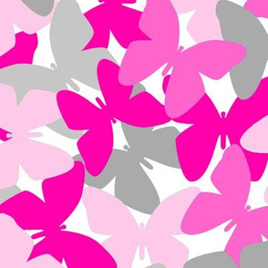 Butterfly Hot Pink Gray Grey Collage Pattern