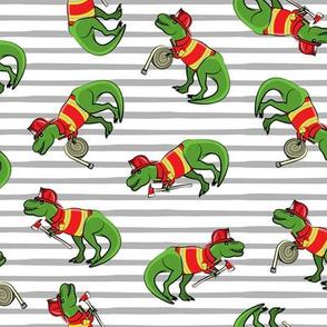 firefighter trex - dinosaur fireman - Tyrannosaurus rex - grey stripes - LAD19