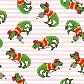 firefighter trex - dinosaur fireman - Tyrannosaurus rex -  pink stripes - LAD19
