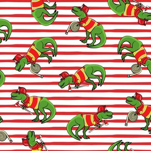 firefighter trex - dinosaur fireman - Tyrannosaurus rex - red stripes - LAD19