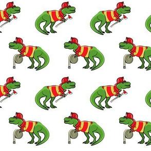 firefighter trex - dinosaur fireman - Tyrannosaurus rex - white - LAD19