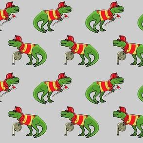 firefighter trex - dinosaur fireman - Tyrannosaurus rex - grey - LAD19