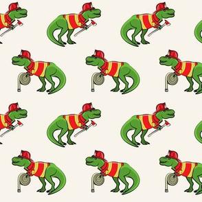 firefighter trex - dinosaur fireman - Tyrannosaurus rex - cream - LAD19