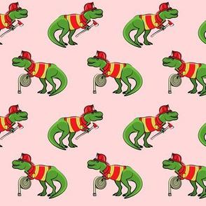 firefighter trex - dinosaur fireman - Tyrannosaurus rex - pink - LAD19