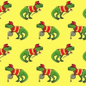 firefighter trex - dinosaur fireman - Tyrannosaurus rex - yellow - LAD19