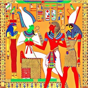 ancient egypt egyptian pharaoh gods goddesses kings hieroglyphics Osiris Hathor Horus Throne  Ankh colorful scarab beetle wings Athyr falcon bird yellow red green orange blue crowns offerings royalty tribal crook flail