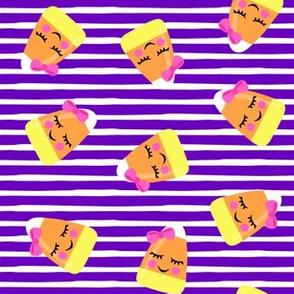 cute candy corn - purple stripes - halloween - LAD19