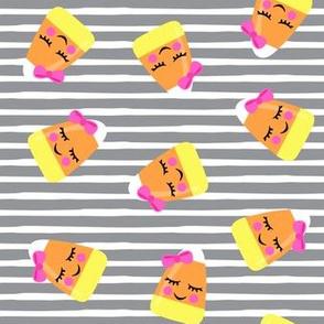 cute candy corn - grey stripes  - halloween - LAD19