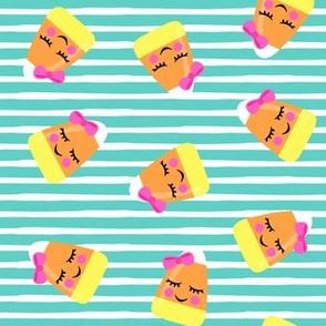 cute candy corn - teal stripes toss - halloween - LAD19