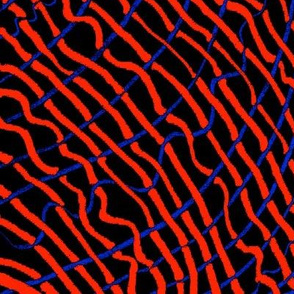 MINIMALIST TEXTURED RED & BLUE ON BLACK