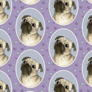 Love for pugs purple small