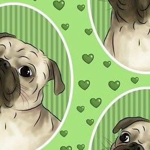Love for pugs -green big