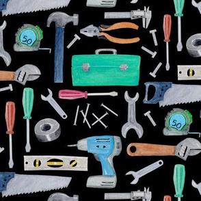 Tools (black) blue green brown, Kids Room Bedding