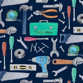 Tool Man (navy) blue green brown, Kids Room Bedding