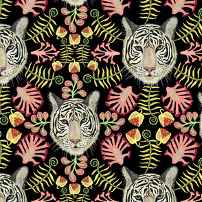 White Bengal Tiger Botanical, Black