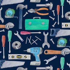 Tools (navy) blue green brown, Kids Room Bedding