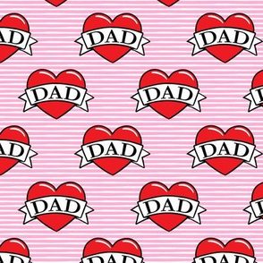 dad heart tattoo - red on pink stripes - LAD19