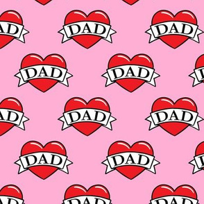 dad heart tattoo - red on pink - LAD19