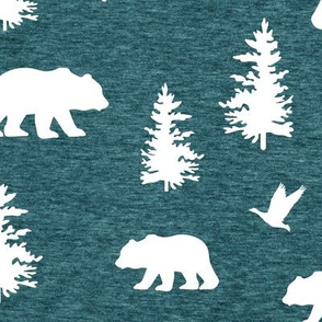 Great Northern Bear (heather teal) Home Decor Bedding, GingerLous
