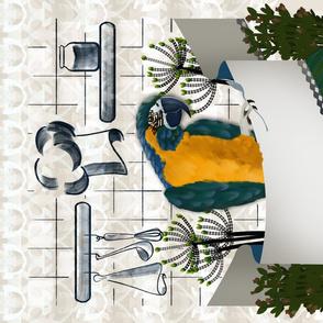 Parrot Portrait Tea Towel with blank banner by Kreativkollektiv