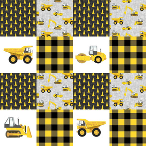 Construction Nursery Wholecloth - yellow and black plaid - LAD19