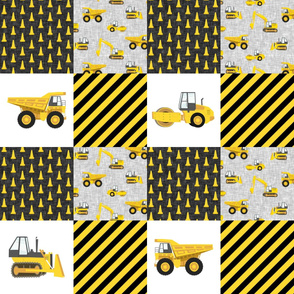 Construction Nursery Wholecloth - yellow  - LAD19