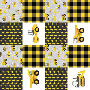Construction Nursery Wholecloth - yellow and black plaid (90) - LAD19
