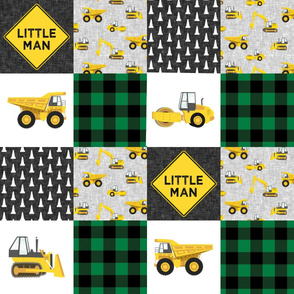 Little Man - Construction Wholecloth - Green and Yellow - Plaid - LAD19