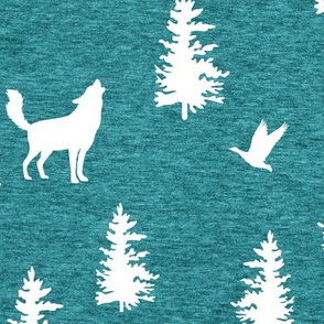 Great Northern Wolf (heather turquoise ) Home Decor Bedding, GingerLous