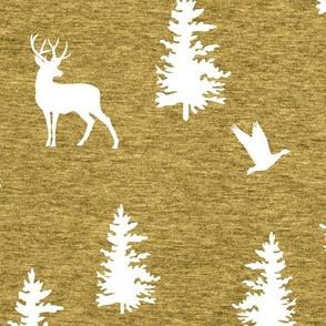 Great Northern Deer (heather mustard) Home Decor Bedding, GingerLous