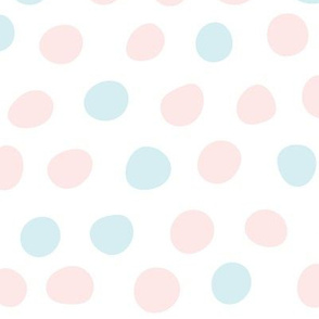 Hand Drawn Polka Dots in Pink and Blue