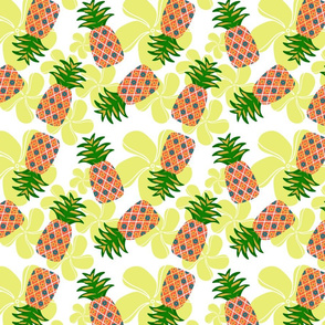 Flowery pineapples (white background)