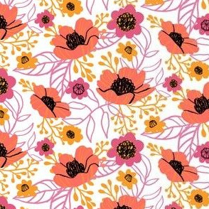 Hellebores and Cosmos in Coral and Mustard Yellow on White