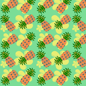 Flowery pineapples (green background)