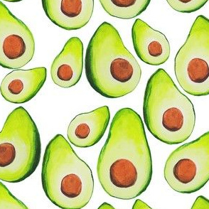 Watercolor Avocados on white