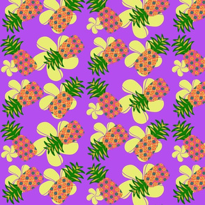 Flowery pineapples (purple background)