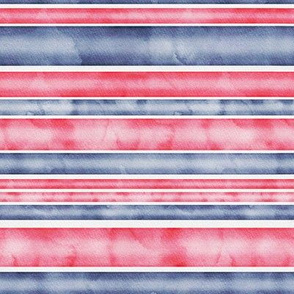 Watercolor Stripes - Red and Blue