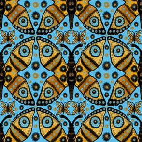 Boho Butterfly Migration on Turquoise Blue