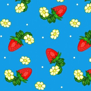 Vintage Strawberry Clusters-Flowers and Dots on Blue