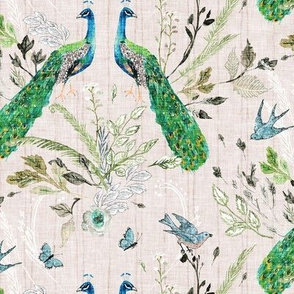 Peacock Chinoiserie (blush) MED