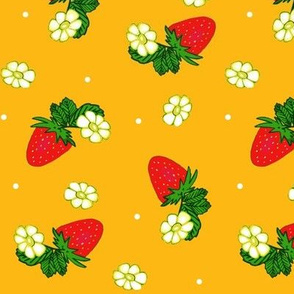 Vintage Strawberry Clusters-Flowers and Dots on cheddar yellow