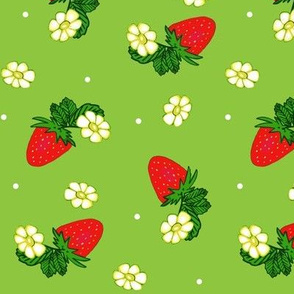 Vintage Strawberry Clusters-Flowers and Dots on Green