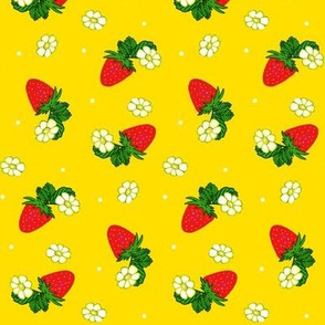 Vintage Strawberry Clusters-Flowers and Dots on Yellow  med/small