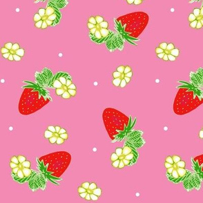 Vintage Strawberry Clusters-Flowers and Dots on Pink
