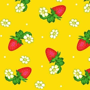Vintage Strawberry Clusters-Flowers and Dots on Yellow