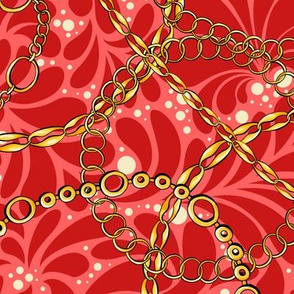 Red Chains on damask flat vector seamless pattern
