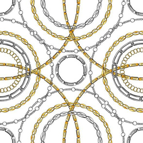 Gold and silver chain flat vector seamless pattern
