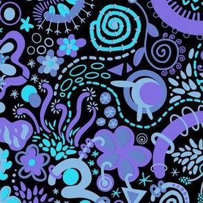 Green Blue Purple Zendoodle